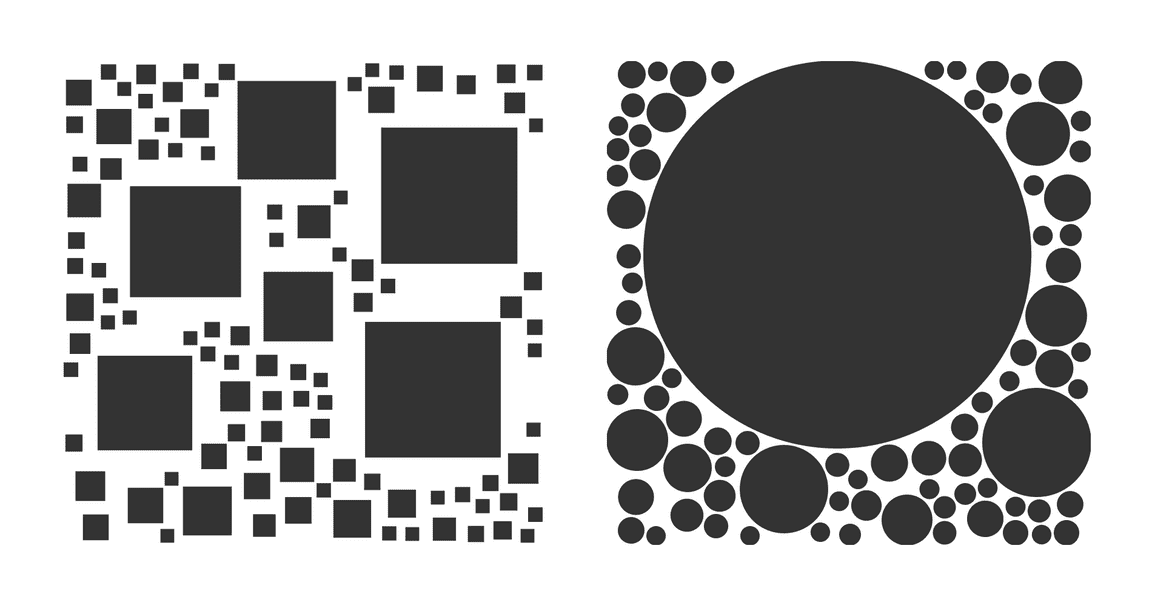 Circles and squares packed into a rectangle